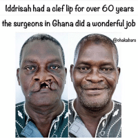 Look at his beautiful smile :) big up to all the Ghana people dem 🇬🇭: Uddrisah had a clef lib for over 60 years  the surgeons in Ghana did a wonderfuljob  @chakabars Look at his beautiful smile :) big up to all the Ghana people dem 🇬🇭