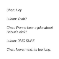 Chen: Hey  Luhan: Yeah?  Chen: Wanna hear a joke about  Sehun's dick?  Luhan: OMG SURE  Chen: Nevermind, its too long. oh chen-ADMIN @zzzcatface -kpopmemes kpopmacros kpopmacro kpopmeme kpop kmacros asian exo oppa exochen exoluhan luhan exomemes chinese