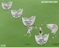 UEFA CL  FINAL  2014  ZEZ  CARTOONS  FIFA  CLUB WORLD CUP  2014  UEFA CL  FINAL  2016  EUROSPORT  UEFA  SUPER CUP  2016 Ramos is the man for the big occasions.