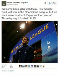 Soccer, Troll, and Trolling: UEFA Europa League  Follow  EuropaLeague  Welcome back @SpursOfficial, we thought  we'd lost you in the Champions League, but we  were never in doubt. Enjoy another year of  Thursday night football! #UEL  RETWEETS LKES  217  496  10:04 pm 07/12/2018 Spurs getting trolled by the Europa League!