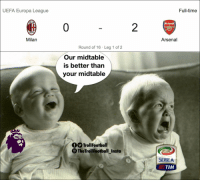 Arsenal, Memes, and Premier League: UEFA Europa League  Full-time  Arsenal  0  2  1899  Milan  Arsenal  Round of 16 Leg 1 of 2  Our midtable  is better than  your midtable  TrollFootball  The TrollFootball Instoa  SERIEA  STIM Premier League > Serie A https://t.co/7gQT3rhaOJ