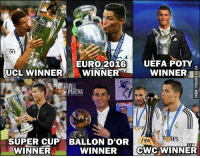 What A Year for Ronaldo! 🔥 🔺Download The FREE App In Our Bio If You Love Football! ❤️⚽️: UEFA POTTY  EURO 2016  UCL WINNER  WINNER  WINNER  ni ates  SUPER CUP BALLON D'OR  IFA  WINNER  CWC WINNER  WINNER What A Year for Ronaldo! 🔥 🔺Download The FREE App In Our Bio If You Love Football! ❤️⚽️