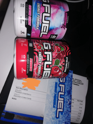 Just got the second shipment. 2 for 1 and I ofcourse chose another poopdiepie.: UEL  Y FORMULA  Item Description  Price  Item Total  GTB-PDP1  Pewdiepie (Lingonberry)  5.99  35.99  GTB-CC1  5.99  35.99  Keemstar's Cotton Candy  71.98  Notes  22.25  35.99  10.28  68.52  Inspired by  PEWDS  Inspired by  KEEMSTAR  SFUEL  ENERGY FORMULA  GFUEL GFUE  ENERGY FORMULA  ENERGY FORMULA  SUGAR  FREE  PEWDIEPIE  COTTON CANDY  DIETARY SUPPLEMENT / NET WT. 9.8 0OZ (280 g)  DIETARY SUPPLEMENT/NET WT  OZ (280 g)  ENDURANCE  TEACO  FOCUS  ENERGY  REACTION  FOCUS  EN URANCE Just got the second shipment. 2 for 1 and I ofcourse chose another poopdiepie.
