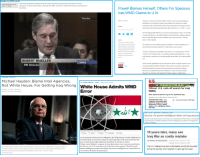 "Advice, Africa, and cnn.com: ueller on  FBI Director Mueller testifies that Secretary Powell has presented evidence of Iraqi  weapons of mass destruction, and that the FBI's concern is that these may be furnished to  terrorists  USER-CREATED CLIP  JULY 17, 2018  Powell Blames Himself, Others For Specious  lraq WMD Claims to U.N  May 25, 2012  Former U.S. Secretary of State Colin Powell in a new book said he blames  himself for not trusting his instinct and making what proved to be false  assertions to the United Nations about Iraq's possession of weapons of mass  destruction, Bloomberg reported earlier this month (see GSN, Feb. 17,2011).  Share  http://nti.org/24433GSN  Powell's high-profile February 2003 prewar presentation to the U.N. Security  Council included now-discredited claims that Iraqi dictator Saddam Hussein  d movable biological  nexus"" with al-Qaeda.  ons facilities and was involved in a ""sinis  Secretary of State  orm  Colin Powell in a new book said he  blames himself for not trusting his  instinct and making what proved to  be false assertions to the United  Nations about Iraq's possession of  weapons of mass destruction,  Bloomberg reported earlier this  month  No evidence of active WMD production facilities or usable stockpiles have  been found in Iraq following the U.S.-led March 2003 invasion.  A failure will always be attached to me and my U.N. presentation,"" Powell  writes in ""It Worked For Me,"" a book that provides leadership advice. ""I am  mad mostly at myself for not having smelled the problem. My instincts failed  me  ROBERT MUELLER  CSPAN  Countries  In his recently published book, Powell asserts ""there would have been no war""  in Iraq had then-President George W.Bush and his councilors understood  that Hussein did not possess any functioning unconventional weapons.  However, he lauded the fact that under Bush ""we got rid of the horrific  Hussein"" government and toppled the Taliban regime in Afghanistan  FBI Director  NATIONAL SECURITY  U.S  Michael Hayden: Blame Intel Agencies,  Not White House, For Getti  By LAUREN JOHNSTON  CBSIAP  July 9, 2003, 8:11AM  