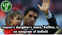 Did you know...: UF  Suarez's daughter's name, Delfina, is  an anagram of Anfield Did you know...