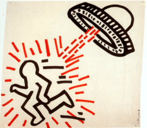 ufo-the-truth-is-out-there:Keith Haring 1981, pop art: ufo-the-truth-is-out-there:Keith Haring 1981, pop art