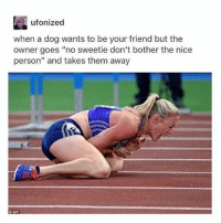 """Nice Personality: ufonized  when a dog wants to be your friend but the  owner goes """"no sweetie don't bother the nice  person"""" and takes them away"""