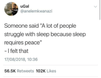 """Blackpeopletwitter, Struggle, and Wicked: uGal  @anelemkwanazi  Someone said """"A lot of people  struggle with sleep because sleep  requires peace""""  - I felt that  17/08/2018, 10:36  56.5K Retweets 102K Likes No rest for the wicked (via /r/BlackPeopleTwitter)"""