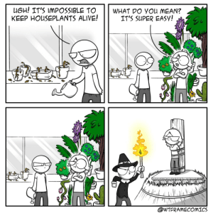Are those green thumbs!? [OC]: UGH! IT'S IMPOSSIBLE TO  KEEP HOUSEPLANTS ALIVE!  WHAT DO YOu MEAN?  IT'S SUPER EASY!  wTITU INLAR  @WTFRAMECOMICS Are those green thumbs!? [OC]