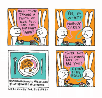 Food, Internet, and Memes: UGH ! YOU'RE  TAKING A  PHoTo OF  YoUR FoOD  FOR THE  INTERNET  AGAIN? (  YES, So  WHAT?  NoBoDY  CARES!  EVEN GONNA  EAT IT  ARE You  LIKE  BEANS  SAUSAGEBEANSEGG FooDloVER  LIZZ LUNNEY FOR BUZzFEeD All for the gram (By @lizzlizz)