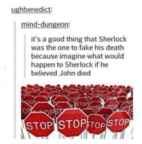 oops ~VC: ughbenedict  mind-dungeon  it's a good thing that Sherlock  was the one to fake his death  because imagine what would  happen to Sherlock if he  believed John died  STO  TO  STOP STOP ToPSTOP oops ~VC