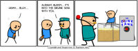 Dank, Alright, and 🤖: uGHH... BLUH  ALRIGHT BUDDY IT'S  INTO THE DRUNK TANK  WITH You.  anide and Happiness Explosm.net  TANK