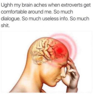Comfortable, Head, and Shit: Ughh my brain aches when extroverts get  comfortable around me. So much  dialogue. So much useless info. So much  shit. Head hurts. need doc.