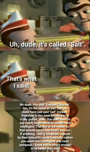 "Dude, Genius, and Irl: Uh, dude it's called ""Salt""  hat's what  l said!  No dude. You said ""Sodium Chloride"".  Yes, it's the same as salt. But you  could have just said""salt"" instead  Everyone in this town knows you're  a boy genius, dude. You dont need to  say overly large words to sound more  intelligent. The fact of the matteris  that nobody cares how smartyou are.  If anything, calling simplistic objects  by their scientific name ironically makes  you seem less intelligent and more  pompous. I know you're smart enough  to be better than this. Me_irl"