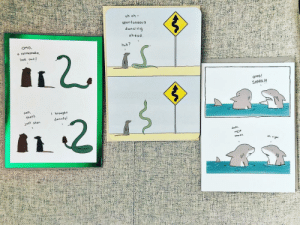 Huh, Memes, and Omg: uh oh -  spontaneou s  ancin  ah ead  OMG  a rattlesnake  look out I  huh?  OMG!  SHARK III  brou  snar  9ht Some of my cards spotted at @target 🙋🏻‍♀️ (Pic by Rachel Steiner via Twitter) lizclimogreetingcards