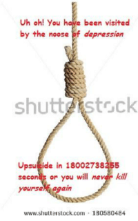 meirl: Uh oh! you have been visited  by the noose of depression  shutt Stock  Upsui ide in 18002738355  seconds or you will  nevan kill  yoursel  Again  www.shutterstock com a 180580484 meirl