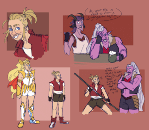 """pterodactylartistry:  couple doodles of my""""huntara raises adora in the crimson wastes"""" au: uh, your Kid i  about to starta  gang war agAin  raise yovr  av ms  sgvat lowar  5tay Pocuse  DON'T  me like  that  staud  still pterodactylartistry:  couple doodles of my""""huntara raises adora in the crimson wastes"""" au"""