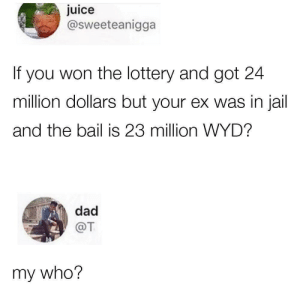About right. by lloydyhats MORE MEMES: uice  @sweeteanigga  If you won the lottery and got 24  million dollars but your ex was in jail  and the bail is 23 million WYD?  dad  @T  my who? About right. by lloydyhats MORE MEMES