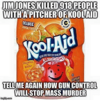 Memes, Orange, and Murder: UIMIONES KILLED 910 PEOPLE  PITCHEROFKOOLAND  ORANGE  RECIPEC  BACK!  TELLME AGAIN HOW GUNCONTROL  WILL STOP MASS MURDER Liberals? What's that? No comment??