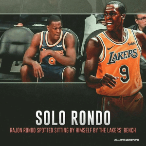 Los Angeles Lakers, Rajon Rondo, and Next: uish  wish  AKERS  SOLO RONDO  RAJON RONDO SPOTTED SITTING BY HIMSELF BY THE LAKERS' BENCH  CLUTCHPOTNTS Rajon Rondo didn't want to sit next to the Lakers. 👀 — @la_lakeshow