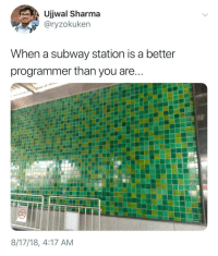 Subway, You, and Now: Ujjwal Sharma  @ryzokuken  When a subway station is a better  programmer than you are  8/17/18, 4:17 AM Now that's dedication