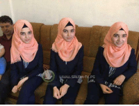 Memes, Israeli, and 🤖: UJww.SALAM TV.PS #Palestinian triplets graduated with high GPA; Isra: 96.8%, Alaa: 95.1% and Dhuha: 94.8%  Even hardships of living under Israeli occupation cannot prevent Palestinian children's talents to shine!