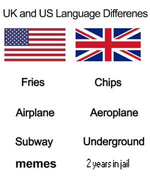 Dank, Memes, and Subway: UK and US Language Differenes  Fries  Chips  Aeroplane  Airplane  Subway  memes  Underground  2years injail Differences in cultures by Ayoub_Alkhazmi MORE MEMES