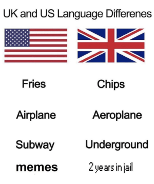 Memes, Subway, and Airplane: UK and US Language Differenes  Fries  Chips  Airplane  Aeroplane  Subway  Underground  memes  2 years injail What are you in for?