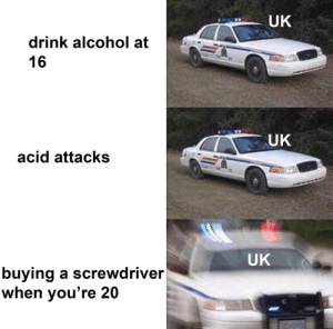you cant buy a screwdriver under the age of 21 by runley101 MORE MEMES: UK  drink alcohol at  16  UK  acid attacks  UK  buying a screwdriver  when you're 20 you cant buy a screwdriver under the age of 21 by runley101 MORE MEMES