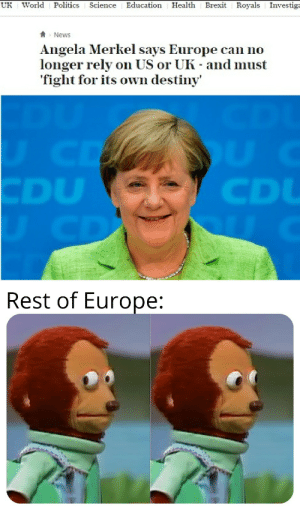 Destiny, News, and Politics: UK  World  Politics  Science Education Health  Brexit Royals Investiga  News  Angela Merkel says Europe can no  longer rely on US or UK - and must  fight for its own destiny  UCD  CDU  UCD  CD  Rest of Europe: You weren't suppose to do that!!!