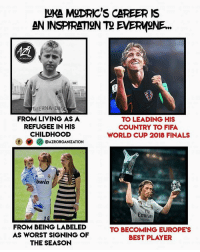 Luka Modric ❤️👏 football soccer gucci footballmemesinsta supreme sports thebeautifulgame @azrorganization: UKA MgDRIC'S CAREER IS  AN INSPIRATION T2 EVERMNE.  OAGATATION  TAVERNA DIKCO  FROM LIVING AS A  REFUGEE IN HIS  CHILDHOOD  ㈩ O) ○ @AZRORGANIZATION  TO LEADING HIS  COUNTRY TO FIFA  WORLD CUP 2018 FINALS  bwin  Emirate  FROM BEING LABELED  AS WORST SIGNING OF  THE SEASON  TO BECOMING EUROPE'S  BEST PLAYER Luka Modric ❤️👏 football soccer gucci footballmemesinsta supreme sports thebeautifulgame @azrorganization