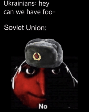 Soviet, Soviet Union, and Can: Ukrainians: hey  can we have foo-  Soviet Union:  No Commie