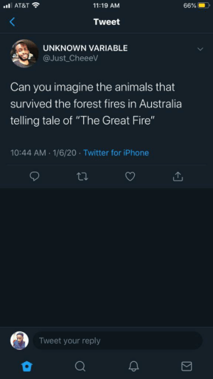 """The survivors.: ul AT&T ?  11:19 AM  66%  Tweet  UNKNOWN VARIABLE  @Just CheeeV  Can you imagine the animals that  survived the forest fires in Australia  telling tale of """"The Great Fire""""  1/6/20 · Twitter for iPhone  10:44 AM  27  Tweet your reply The survivors."""