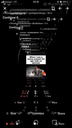 """Continue it: ul Verizon LTE  O O 19% O  """"0, P H