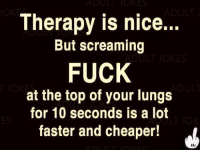 Memes, Fuck, and Jokes: ULI JOKES  Therapy is nice  But screaming  FUCK  at the top of your lungs  for 10 seconds is a lot  faster and cheaper!