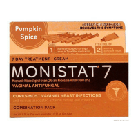 Tis the season. PumpkinSpice everything nice. After that long weekend...switch it up. 🔥🍣🎃: CURES THE INFECTION  Pumpkin  RELIEVES THE SYMPTOMS  Spice  ITCH RELIEF  CURE  orional prescription strength  itch relief cream  creamin?prefired applicators  7 DAY TREATMENT CREAM  MONISTAT7  VAGINAL ANTIFUNGAL  CURES MOST VAGINAL YEAST INFECTIONS  and relieves associated external itching and irritation  COMBINATION PACK  Net Wt o18 oz. (sg) each applicator 032 oz. (9g) tube Tis the season. PumpkinSpice everything nice. After that long weekend...switch it up. 🔥🍣🎃