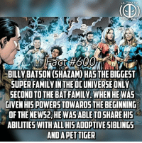 Family, Memes, and Shazam: ULTIMA TE  CT  ac  BILLY BATSON (SHAZAM) HAS THE BIGGEST  SUPER FAMILY IN THE DC UNIVERSE ONLY  SECOND TO THE BAT FAMILY. WHEN HE WAS  GIVEN HIS POWERS TOWARDS THE BEGINNIND  OF THE NEW52, HEWASABLETOSHARE HIS  ABILITIES WITHALL HISAD0PTIVE SIBLINGS  AND APETTIGER Fact 600! Stay tuned for when we reach fact 700. Don't comment flash family because it was rare for multiple members of the family to be active at once. The most that have all been is 4...which all 6 members of Shazams family have been active at once...SO THEY DONT COUNT! -- Tag your group of people you would give powers!