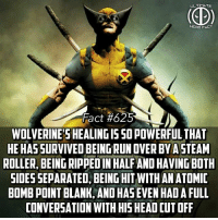 Head, Memes, and Run: ULTIMATE  HERO FACT  Fact #625  WOLVERINE'S HEALINGIS SO POWERFUL THA  HE HAS SURVIVED BEING RUN OVER BYA STEAM  ROLLER, BEING RIPPED IN HALF AND HAVING BOTH  SIDES SEPARATED, BEING HIT WITH AN ATOMID  BOMB POINT BLANK, AND HAS EVEN HAD A FULL  CONVERSATION WITH HIS HEAD CUT OFF Talk about endurance😧😧 -- What did you guys think of the Infinity War trailer? Comment below!
