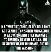 "Memes, SpiderMan, and Spiderman: ULTIMATE  HERO FACTS  Fact #414  INA""WHATIF"" COMIC, BLACK OLT ONCE  GOT SCARED BYASPIDER AND GASPED  INALOW TONE BUT STILL MANAGED  TO DESTROY HAVEOFATTILAN,THE  RESIDENCE OF THEINHUMANS BUT NO  ONE WAS HURT (TYPO: Half*) When Spiderman sends his troops for you😬😬😂...we decided to change the layout back, hope you enjoy! -- Who would be your fan cast for a Black Bolt movie?"
