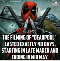 """For those of you that don't know, this is a repost of our first fact ever as a way to close off this amazing anniversary day! We thank everyone for their well wishes and we look forward to another year of educating our supporters! -- What was you favorite movie of 2016 (doesn't have to be a comic movie): ULTIMATE  HERO FACTS  Fact #455  THE FILMING OF """"DEADPOOL""""  LASTEDEXACTLY48DAYSA  STARTINGINLATE MARCHAND  ENDINGIN MID MAY For those of you that don't know, this is a repost of our first fact ever as a way to close off this amazing anniversary day! We thank everyone for their well wishes and we look forward to another year of educating our supporters! -- What was you favorite movie of 2016 (doesn't have to be a comic movie)"""