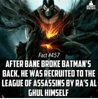 A small correction for part 2, Bane fell in love her and she kinda tolerated him lol -- I'm really loving this update fam😬😬😬: ULTIMATE  HERO FACTS  Fact #457  AFTER BANE BROKE BATMAN'S  BACK, HE WASRECRUITEDTOTHE  LEAGUE OF ASSASSINS BYRA'S AL  GHUL HIMSELF A small correction for part 2, Bane fell in love her and she kinda tolerated him lol -- I'm really loving this update fam😬😬😬