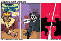 """Omg, Tumblr, and Wrestling: Ultimate Thumb Wrestling  ULTIMAT  THUMB WRESTLING  CHAMPIONSHIP  GO KING  MIDAS!  DEATH  2017 ALEXANDER HOFFMAN. ALL RIGHTS RESERVED  OF ABSURDITY.COM  TAL <p><a href=""""https://omg-images.tumblr.com/post/161741794907/ultimate-thumb-wrestling"""" class=""""tumblr_blog"""">omg-images</a>:</p>  <blockquote><p>Ultimate Thumb Wrestling</p></blockquote>"""
