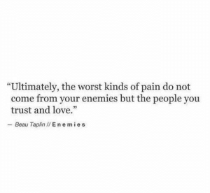 "Beau: ""Ultimately, the worst kinds of pain do not  come from your enemies but the people you  trust and love.""  - Beau Taplin I/ E nemies"