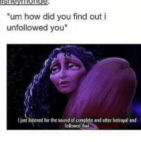 """tangled rapunzel meme memes memesfordays memesdaily lol lols funny puns pun joke tumblr nintendo disney marvel spongebob 😂: """"um how did you find out i  unfollowed you""""  I just listcncd for thc sound of complctc and uttcr bctrayal and  followed that tangled rapunzel meme memes memesfordays memesdaily lol lols funny puns pun joke tumblr nintendo disney marvel spongebob 😂"""