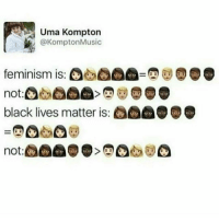 Some of ya'll are gonna fight over a harmless post, please don't. I'll disable comments if one person starts shit !! texetposts: Uma Kompton  Kompton Music  feminism is:  black lives matter is: Some of ya'll are gonna fight over a harmless post, please don't. I'll disable comments if one person starts shit !! texetposts