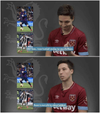 Football, Love, and Messi: umbro  But Ilove..I love football and so for me, its Messi  mbro  ค้า  Messi is everything about football. Samir Nasri when asked about who is better between Messi and Ronaldo 👊🔥 https://t.co/LILNAzgJO3