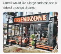 Friendzone, Dreams, and Sadness: Umm l would like a large sadness and a  side of crushed dreams  FRIENDZONE <p>&hellip;and the #2 Hopelessness combo. ☹️😞😖</p>