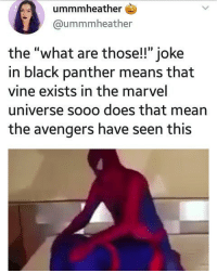 "yes: ummmheather  @ummmheather  the ""what are those!!"" joke  in black panther means that  vine exists in the marvel  universe sooo does that mean  the avengers have seen this yes"