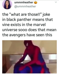 "thegothamgays: This might actually be the most cursed tweet I've ever seen: ummmheather  @ummmheather  the ""what are those!!"" joke  in black panther means that  vine exists in the marvel  universe sooo does that mean  the avengers have seen this thegothamgays: This might actually be the most cursed tweet I've ever seen"
