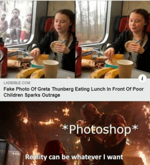 This wouldn't be a problem with Communism: Umpart  i  LADBIBLE COM  Fake Photo Of Greta Thunberg Eating Lunch In Front Of Poor  Children Sparks Outrage  *Photoshop*  Reality can be whatever I want This wouldn't be a problem with Communism